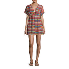 Porto Cruz Pattern Chiffon Swimsuit Cover-Up Dress