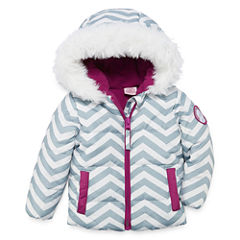 US Polo Assn. Heavyweight Chevron Puffer Jacket - Girls-Baby