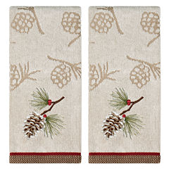 Saturday Knight Pinecone Holiday 2-pc. Embroidered Hand Towel