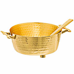 Classic Touch hammered stainless steel Gold Candy Nut Bowl with Spoon