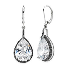 Lab-Created White Sapphire and Onyx Sterling Silver Drop Earrings