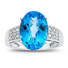 Womens Diamond Accent Genuine Blue Blue Topaz 10K Gold Cocktail Ring