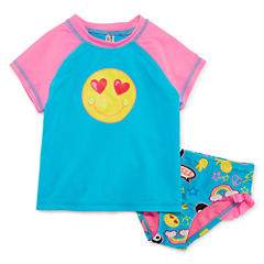 Breaking Waves Patchwork Rash Guard Set - Toddler
