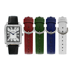 Peugeot® Womens Crystal-Accent Interchangeable Leather Strap Watch Set 677S