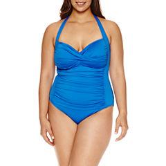 Liz Claiborne Solid One Piece Swimsuit- Plus