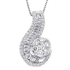 diamond blossom 1 CT. T.W. Diamond 10K White Gold Swirl Pendant Necklace