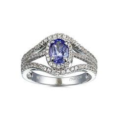 Womens Purple Tanzanite Sterling Silver Halo Ring