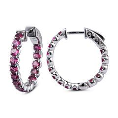 Pink Tourmaline Sterling Silver Hoop Earrings