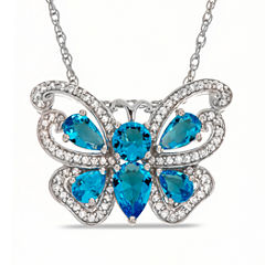 Simulated Blue Topaz & Lab Created White Sapphire Sterling Silver Pendant
