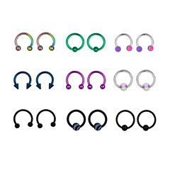 Stainless Steel 316L 9-pc 16 Ga. Captive Hoops And Horseshoe Set