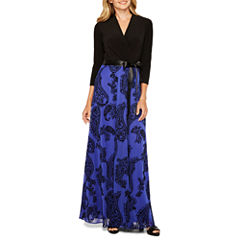 Be by CHETTA B 3/4 Sleeve Paisley Maxi Dress