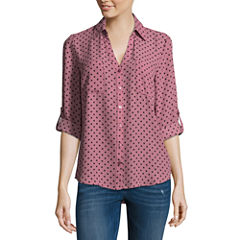 by&by 3/4 Sleeve Crepe Dots Blouse-Juniors