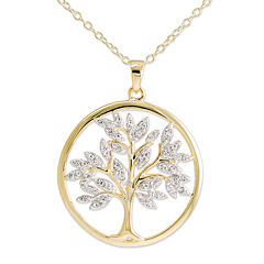 14K Gold Over Silver Crystal Tree of Life Pendant Necklace