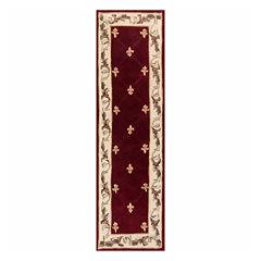 Fleur de Lis 2'X8' Hand-Carved Wool Runner Rug