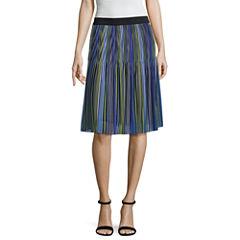 Worthington Stripe Woven Pleated Skirt