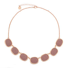 Monet Jewelry Womens Pink And Rose Goldtone Collar Necklace