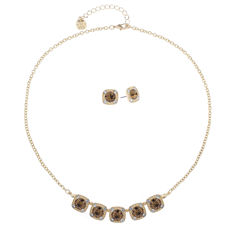 Monet Jewelry Womens 2-pc. Brown Goldtone Delicate Necklace Set