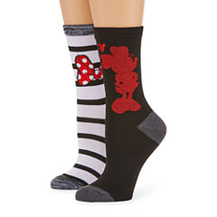 2 Pair Minnie Mouse Crew Socks - Womens