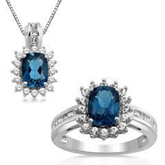 Womens 2-pc. Genuine Blue Topaz Sterling Silver Jewelry Set