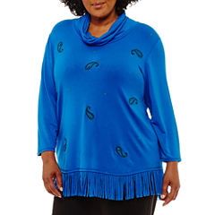 Lark Lane Fall Festival Cowl Neck Fringe Tunic-Plus