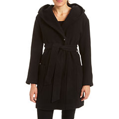 Excelled Hooded Belted Wrap Coat