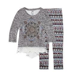 Knit Works Graphic Long Sleeve Crochet Detail Legging Set- Girls' 7-16 & Plus