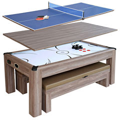 Driftwood 7-ft Air Hockey Table Combo Set w/Benches