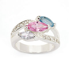 Sparkle Allure Womens Multi Color Silver Over Brass Cocktail Ring