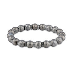 Mens Gray Hematite Stainless Steel Beaded Bracelet