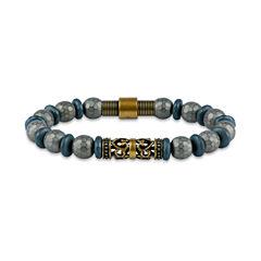 Mens Gray Hematite Beaded Bracelet