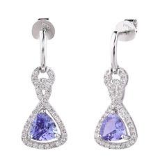 Blue Tanzanite Sterling Silver Drop Earrings