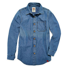 Dickies Long Sleeve Button-Front Shirt Girls