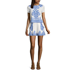Eyeshadow Short Sleeve Dress Set-Juniors