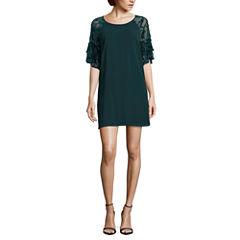 My Michelle 3/4 Sleeve A-Line Dress-Juniors