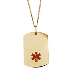Personalized Medical ID Dog Tag Pendant Necklace