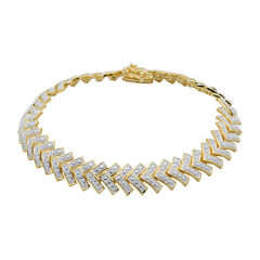 Diamond-Accent 18K Gold Over Brass Chevron Bracelet