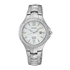 Seiko® Womens Silver-Tone Mother-of-Pearl Diamond-Accent Watch SUT239
