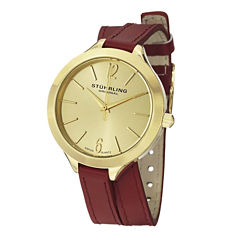 Stuhrling® Original Womens Red Leather Wrap-Around Strap Watch