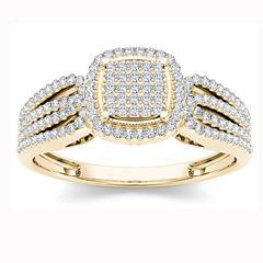 Womens 1/5 CT. T.W. Round White Diamond 10K Gold Engagement Ring