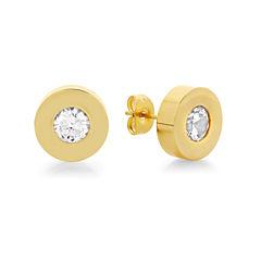 Round White Crystal 18K Stainless Steel Stud Earrings