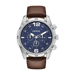 Geneva Mens Brown Strap Watch-Fmdjm581
