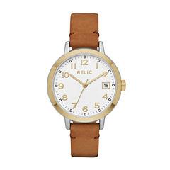 Relic Womens Brown Strap Watch-Zr12216