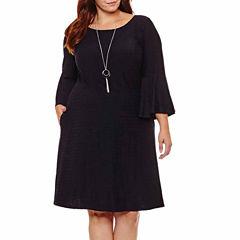 Alyx Long Sleeve Stripe Fit & Flare Dress-Plus