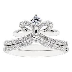 Enchanted By Disney Womens 1/3 CT. T.W. Genuine White Diamond 10K Gold Bridal Set
