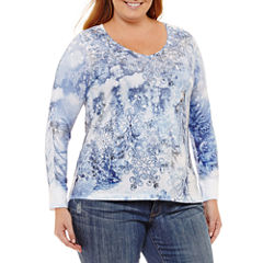 Unity World Wear Long Sleeve Scoop Neck Snowflake Tee-Plus