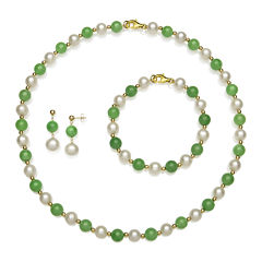 Cultured Freshwater Pearl and Green Jade 3-pc. Boxed Jewelry Set