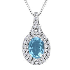 Genuine Blue Topaz and Lab-Created White Sapphire Sterling Silver Halo Pendant Necklace