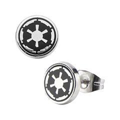 Star Wars® Stainless Steel and Enamel Galactic Empire Symbol Earrings