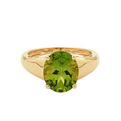 LIMITED QUANTITIES! Green Peridot 14K Gold Cocktail Ring