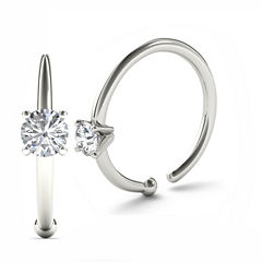 14K White Gold Diamond-Accent 3mm Hoop Nose Ring